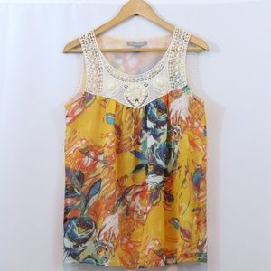 NY Collection Floral Printed Beaded Sleeveless Top